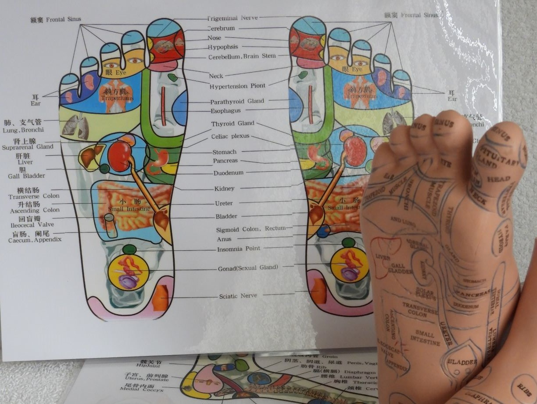 Massage van de reflexzones op de voet